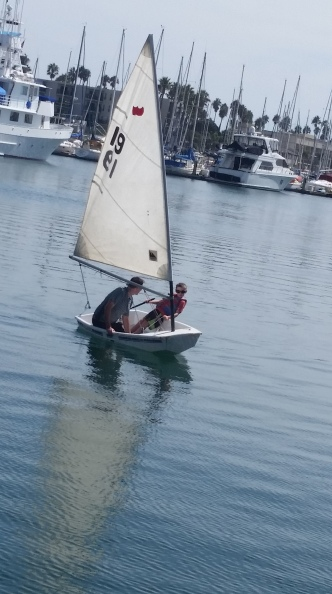 Elliott practices sailing