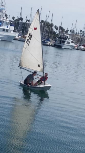 Elliott practices sailing