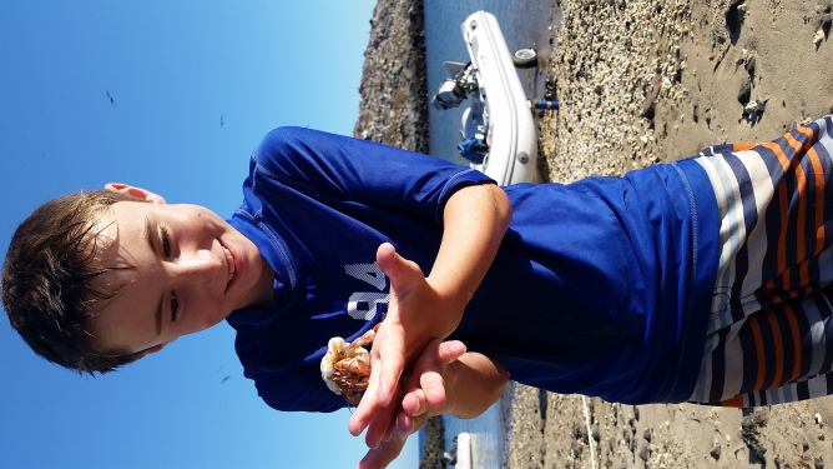 Elliott playing with hermit crabs