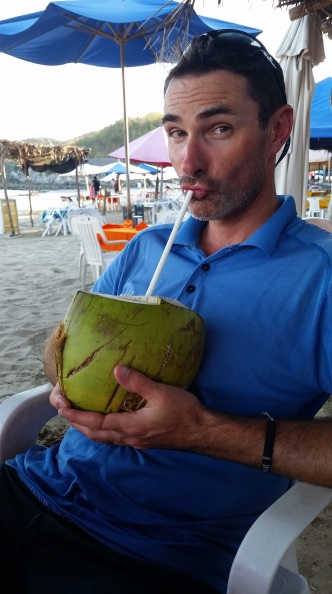 Birthday coconut water-we were wiped and a little dehydrated!